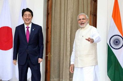Indian Prime Minsiter Narendra Modi and his Japanese counterpart Shinzo Abe prior to their meeting in New Delhi, India. (Photo: AAP)