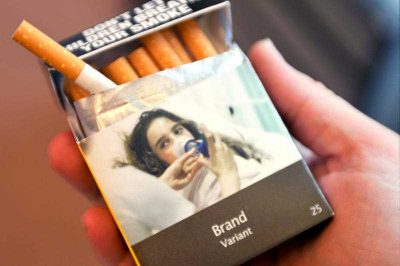 An early design proposal for plain packaging of cigarettes, Canberra, Australia, 7 April 2011. (Photo: AAP).