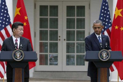 President Barack Obama pauses during a joint news conference with Chinese President Xi Jinping in the Rose Garden of the White House in Washington. (Photo: AAP)