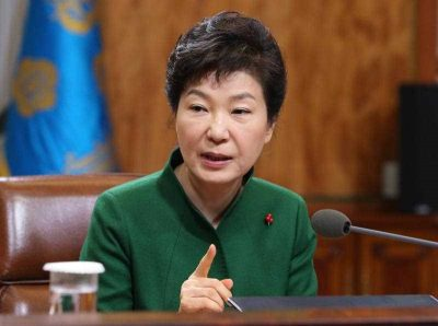 South Korean President Park Geun-hye speaks during a regular meeting with her top aides at the presidential office Cheong Wa Dae in Seoul, South Korea. (Photo: AAP)