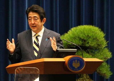 Japanese Prime Minister Shinzo Abe speaks at his first press conference of the year at the Prime Minister's Office in Chiyoda Ward, Tokyo on January 4 2016. (Photo: AAP).