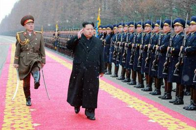 North Korean leader Kim Jong-un makes a congratulatory visit to the Ministry of People's Armed Forces, the Korean Central News Agency reported, 10 January 2016. (Photo: AAP).