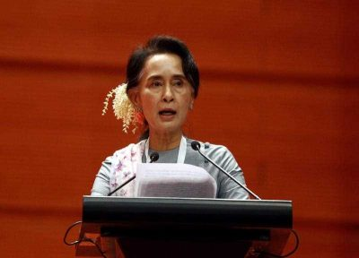 Aung San Suu Kyi delivers a speech during the Peace Conference at the Myanmar Convention Center in Naypyitaw, Myanmar, 12 January 2016. (Photo: AAP).