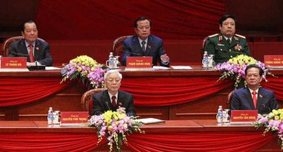 General Secretary Nguyen Phu Trong along with Prime Minister Nguyen Tan Dung and other leaders attends the closing ceremony of the 12th National Congress of Vietnam's Communist Party in Hanoi, Vietnam, 28 January 2016. (Photo: AAP).