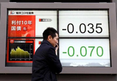 An electric screen shows the yield on the benchmark 10-year Japan government bond (JGB) falling below zero for first time in history in Chuo Ward, Tokyo on 9 February 2016. (Photo: AAP).