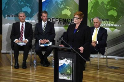 Minister for Defence Senator Marise Payne presents the Defence White Paper at the Australian Defence Force Academy in Canberra, 25 February 2016. (Photo: AAP).
