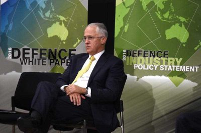 Prime Minister Malcolm Turnbull presents the Defence White Paper at the Australian Defence Force Academy in Canberra on 25 February 2016. (Photo: AAP).