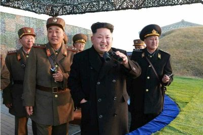 North Korean leader Kim Jong-un guiding a joint drill of military units at an undisclosed location in North Korea.(Photo: AAP).