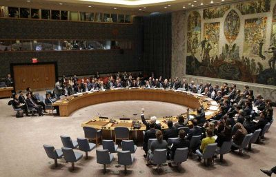 The United Nations Security Council votes on a resolution that would impose the toughest sanctions on North Korea in two decades, during a meeting at UN Headquarters, 2 March 2016. (Photo: AAP).