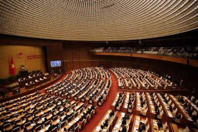 A general view of delegates attending the opening session of the eleventh session of the National Assembly's 13th tenure, at the National Assembly Office in Hanoi, Vietnam, 21 March 2016. (Photo: AAP).