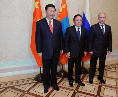 Russian President Vladimir Putin, Mongolian President Tsakhiagiin Elbegdorj and their Chinese counterpart Xi Jinping at the Shanghai Cooperation Organization Heads of State Summit in Tajikistan, September 2014. (Photo: AAP)