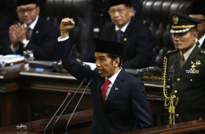 Indonesian President Joko Widodo at the House of Representative building in Jakarta (Photo: Reuters).