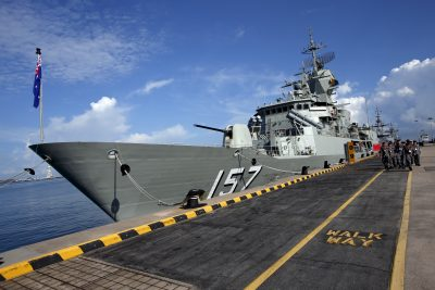 Australian navy personnel march past their HMAS Perth Anzac-class frigate on display ahead of the IMDEX Asia maritime defence exhibition at Changi Naval Base in Singapore 18 May 2015 (Photo: Reuters/Edgar Su).