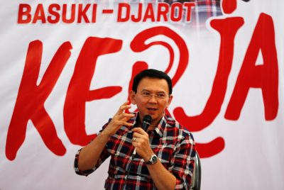 Jakarta Governor Basuki 'Ahok' Tjahaja Purnama speaks while campaigning for the upcoming election for governor in Jakarta, Indonesia (Reuters/Darren Whiteside).