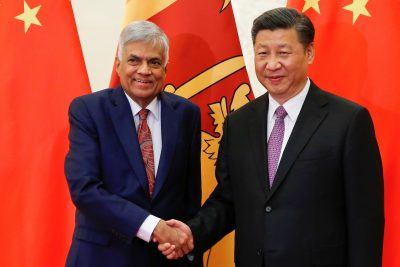 Sri Lanka's Prime Minister Ranil Wickremesinghe with Chinese President Xi Jingping at the Great Hall of the People in Beijing, China, 16 May, 2017 (Photo: Reuters/Damir Sagolj).
