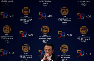Japanese Deputy Prime Minister and Finance Minister Taro Aso attends opening session of the ADB annual meeting in Yokohama, south of Tokyo, Japan, 6 May 2017. (Photo: Reuters/Issei Kato).
