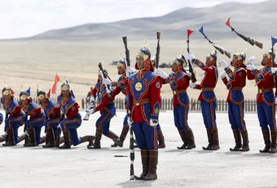 Mongolian guards of honor perform during the opening ceremony of Khaan Quest 2015 an annual multilateral military exercise at a military training centre near Ulan Bator in Mongolia