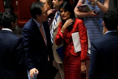 US Ambassador to the United Nations Nikki Haley and South Korean Ambassador to the UN Cho Tae-yul speak after a UN Security Council meeting to discuss the recent ballistic missile launch by North Korea at UN headquarters in New York, United States, 5 July 2017 (Photo: Reuters/Mike Segar).