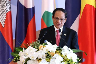 ASEAN Secretary-General Le Luong Minh at the opening ceremony of the 8th Cambodia–Laos–Myanmar–Vietnam summit in Hanoi in October 2016. The secretariat and secretary-general have played an increasingly important role in bolstering legal and institutional compliance within the bloc. (Photo: Reuters/Luong Thai Linh).