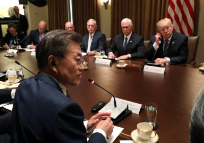 U.S. President Donald Trump and South Korean President Moon meet with their delegations in the Cabinet Room of the White House in Washington U.S