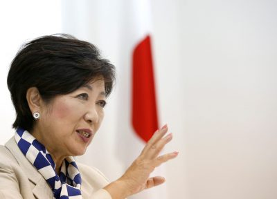 Tokyo Governor Yuriko Koike, head of Japan's Party of Hope, speaks during an interview with Reuters in Tokyo, Japan, 6 October 2017 (Photo: Reuters/Issei Kato).