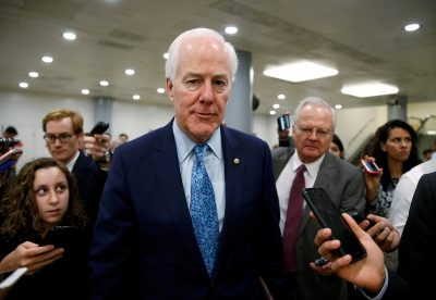Senator John Cornyn speaks to reporters in Washington, US, 7 September 2017. (Photo: Reuters/Joshua Roberts).