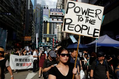 Pro-democracy activists take part in a protest on China's National Day in Hong Kong, China, 1 October 2017 (Photo: Reuters/Bobby Yip).