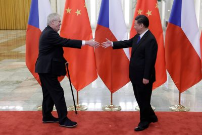 Czech President Milos Zeman meets China's President Xi Jinping at the Great Hall of the People, in Beijing, China, 12 May 2017 (Photo: Reuters/Jason Lee).