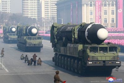 Intercontinental ballistic missiles are seen at a grand military parade celebrating the 70th founding anniversary of the Korean People's Army at the Kim Il Sung Square in Pyongyang in this