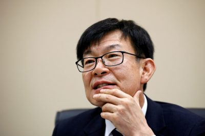 Kim Sang-jo the Chief of Korea Fair Trade Commission and former corporate reform activist nicknamed 'chaebol sniper' speaks during an interview with Reuters in Seoul South Korea 18 August 2017