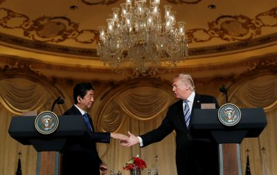 US President Donald Trump and Japan's Prime Minister Shinzo Abe shake hands as they hold a joint press conference at Trump's Mar-a-Lago estate in Palm Beach, Florida, US, 18 April 2018 (Photo: Reuters/Kevin Lamarque).