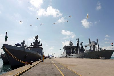 Indian Naval Ships Kamorta, Sahyadri and Shakti, are seen docked in Changi Naval Base during a visit to Singapore, 20 May 2018 (Photo: Reuters/Feline Lim).