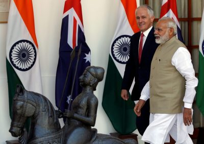 Australian and Indian prime ministers Malcolm Turnbull and Narendra Modi arrive for a photo opportunity ahead of their meeting at Hyderabad House in New Delhi, 10 April 2017 (Photo: Reuters/Adnan Abidi).