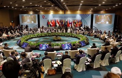 Foreign ministers attend the ASEAN Regional Forum Retreat Session in Singapore, 4 August 2018 (Photo: Reuters/Edgar Su).