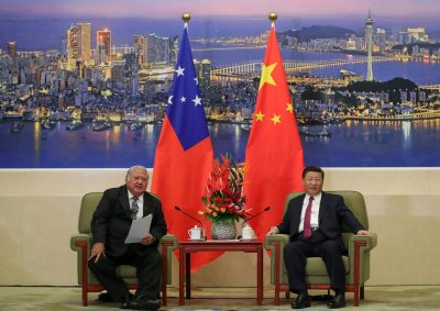 Samoa's Prime Minister Tuilaepa Sailele meets with China's President Xi Jinping at The Great Hall of the People in Beijing, China, 18 September 2018. (Photo: Lintao Zhang/Pool via Reuters).