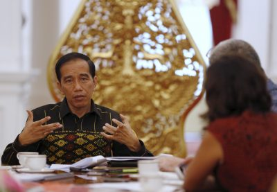 Indonesian President Joko Widodo gestures during an interview at the presidential palace in Jakarta. (Photo: Reuters/Darren Whiteside).