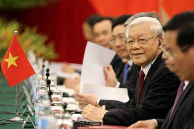 Vietnamese Communist Party General Secretary Nguyen Phu Trong smiles before a meeting with Chinese President Xi Jinping (not pictured) at the Central Office of the Communist Party of Vietnam in Hanoi, Vietnam, 12 November 2017 (Photo: Reuters/Luong Thai Linh/Pool).