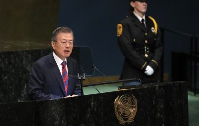 South Korea's President Moon Jae-in addresses the 73rd session of the United Nations General Assembly at UN headquarters in New York, US, 26 September 2018 (Photo: Reuters/Caitlin Ochs).