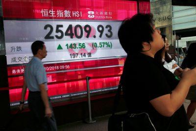 A panel outside a bank displays the Hang Seng Index during morning trading in Hong Kong, 12 October 2018 (Reuters/Bobby Yip).