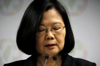 Taiwan President Tsai Ing-wen announces her resignation as chairwoman of the Democratic Progressive Party (DPP) after local elections in Taipei, Taiwan, 24 November 2018 (Photo: Reuters/Ann Wang).