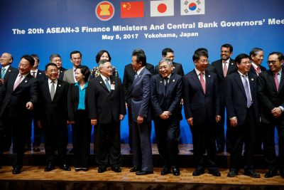 Ministers and central bank governors pose during a photo session at ASEAN+3 Finance Ministers and Central Bank Governors' Meeting on the sideline of Asian Development Bank (ADB)'s annual meeting in Yokohama, Japan on 5 May 2017 (Photo: Reuters/Issei Kato).