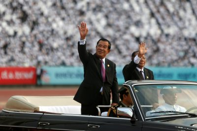 Cambodia's Prime Minister Hun Sen arrives at an event to mark the 40th anniversary of the toppling of Pol Pot's Khmer Rouge regime at the Olympic stadium in Phnom Penh, Cambodia, 7 January 2019 (Photo: Reuters/Samrang Pring).