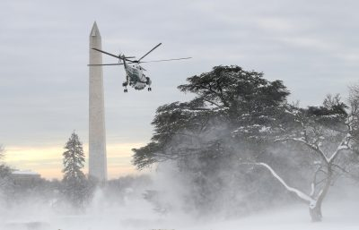 US President Donald Trump departs on Marine One for travel to New Orleans from the South Lawn of the White House, Washington DC, United States, 14 January 2019 (Photo: Reuters/Leah Millis).