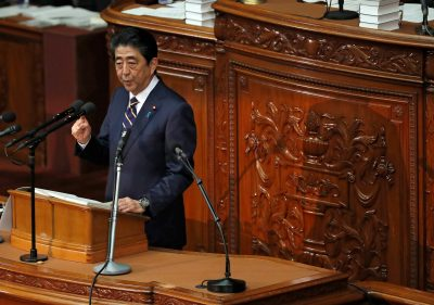 Japan's Prime Minister Shinzo Abe delivers his policy speech at the lower house of parliament in Tokyo, Japan, 28 January 2019 (Photo: Reuters/Issei Kato).