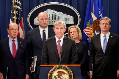 US Attorney Richard P Donoghue for the Eastern District of New York is flanked by US Secretary of Commerce Wilbur Ross, Acting US Attorney General Matthew Whitaker, US Secretary of Homeland Security Kirstjen Nielsen and Director of the Federal Bureau of Investigation Christopher Wray as he addresses a news conference to announce indictments against China's Huawei Technologies Co Ltd, several of its subsidiaries and its chief financial officer Meng Wanzhou, at the Justice Department in Washington, the United States, 28 January 2019 (Photo: Reuters/Joshua Roberts).