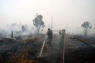 Indonesian soldiers try to extinguish a peat fire in Kampar, Riau, Sumatra island, Indonesia, 6 October 6, 2016 in this photo taken by Antara Foto. Picture taken October 2016 (Photo: Antara Foto/Rony Muharrman/via Reuters).