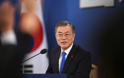 South Korean President Moon Jae-in holds his New Year press conference at the presidential Blue House in Seoul, South Korea, 10 January 2019 (Photo: Jung Yeon-je/Pool via Reuters).