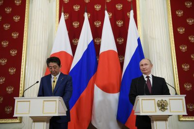 Russian President Vladimir Putin and Japanese Prime Minister Shinzo Abe make a joint statement following their meeting at the Kremlin in Moscow, Russia 22 January 2019 (Photo: Reuters/Alexei Druzhinin).