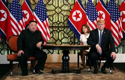 North Korean leader Kim Jong Un and US President Donald Trump listen to questions from the media during their one-on-one bilateral meeting at the second North Korea-US summit in the Metropole hotel in Hanoi, Vietnam 28 February 2019 (Photo: REUTERS/Leah Millis).