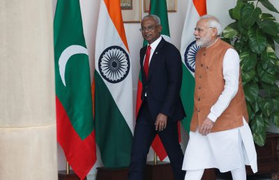 Maldives President Ibrahim Mohamed Solih and India's Prime Minister Narendra Modi arrive ahead of their meeting at Hyderabad House in New Delhi, India, 17 December 2018 (Photo: Reuters/Adnan Abidi).